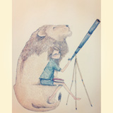 Lion and a girl with a telescope