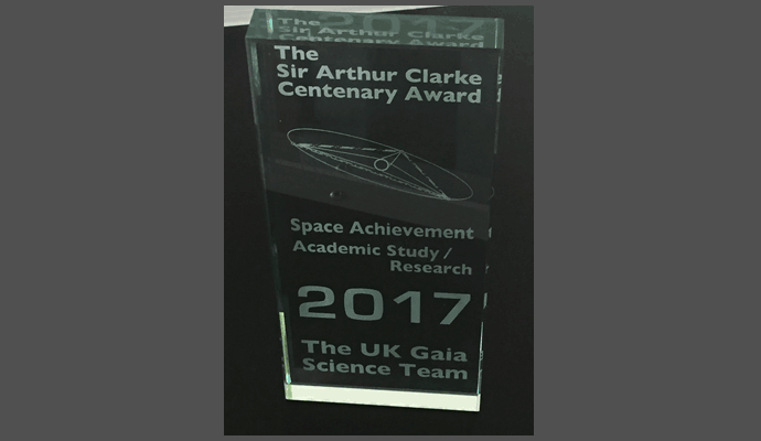 The Sir Arthur Clarke Centenary Award for the UK Gaia Science Team